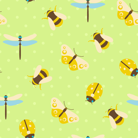 Vector seamless pattern illustration of colorful insects with polka dots background