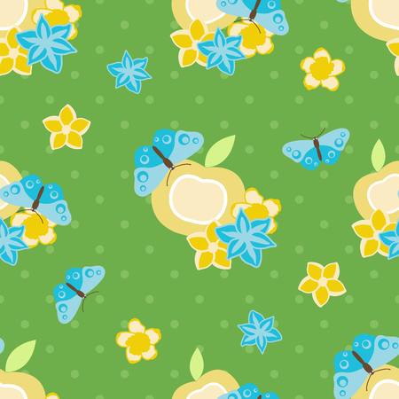 Vector seamless pattern illustration of blue butterflies with apple on green background