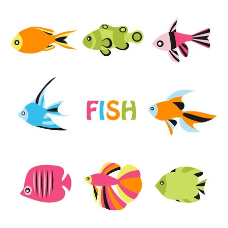 Sea and ocean fish isolated on white. Vector illustration in colorful flat style. Foto de archivo - 134557239