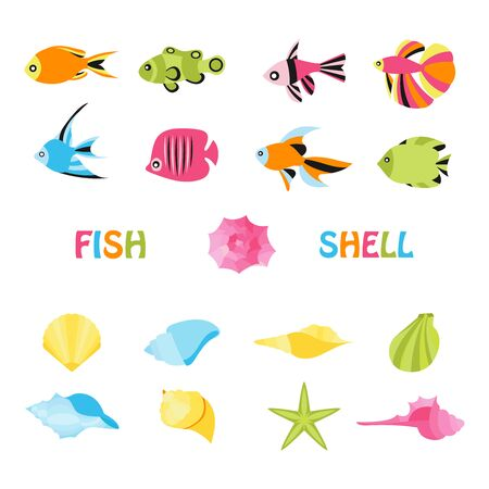 Seashell and ocean fish isolated on white. Vector illustration in colorful flat style. Foto de archivo - 134557240