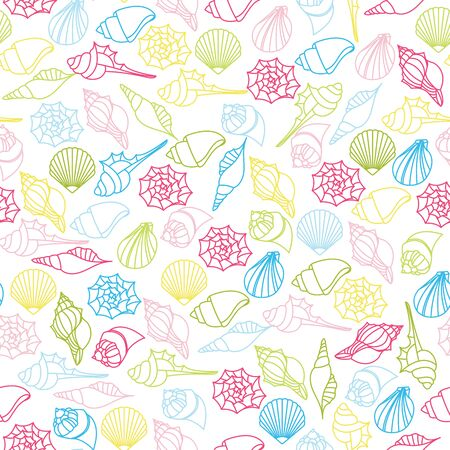Vector seamless pattern of seashells on white background Foto de archivo - 134557246