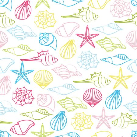 Vector seamless pattern of seashells on white background Foto de archivo - 134557249