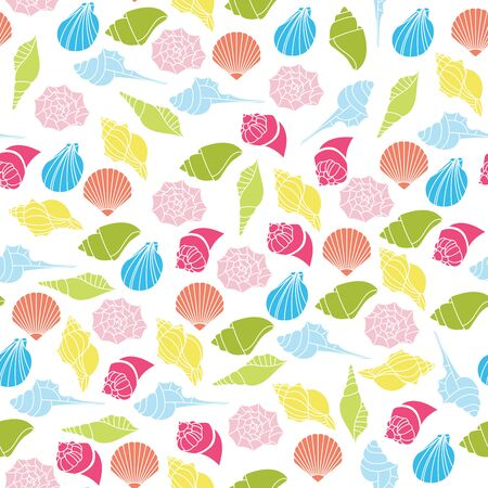 Vector seamless pattern of seashells on white background Foto de archivo - 134557251