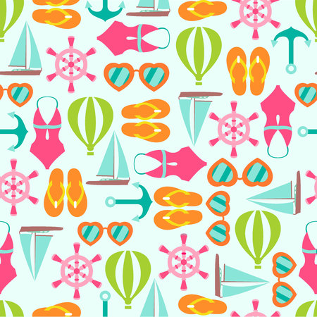 Nautical summer beach multicolor seamless pattern background