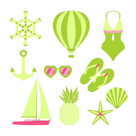 Bright summertime collection. Elements for summer holiday and party.
