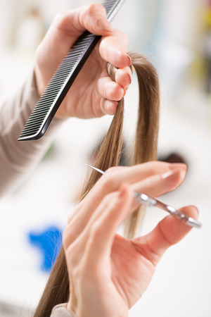 Hairdresser cut hair of a woman  photo