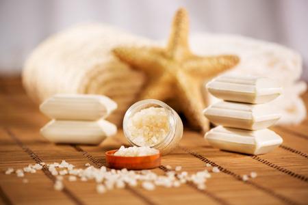 seastar: Tranquil scene with Towel, bath salt, soap, and sea-star