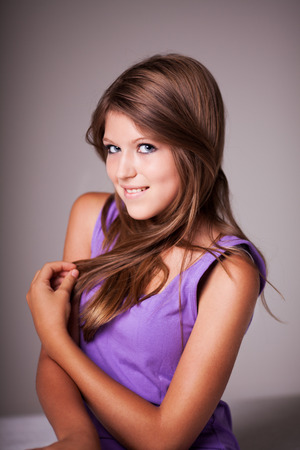 pre adolescence: Beautiful teenage girl portrait, looking at camera  Stock Photo