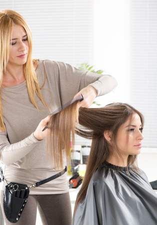 Young beautiful woman in a hair salon getting her hair cut by the hairdresser. photo