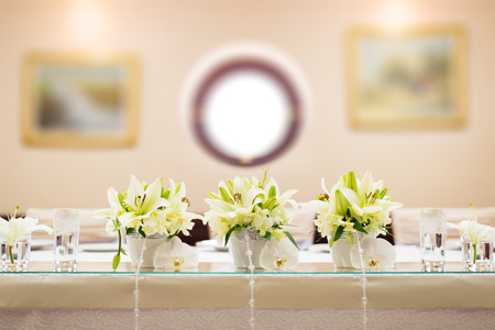 Wedding table decoration with flowers Stock Photo