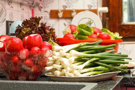 washed: Washed fresh vegetables in kitchen