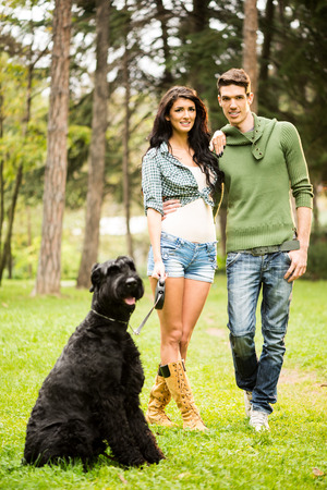 heterosexual: Young handsome heterosexual couple with a dog, a black giant schnauzer,  walking through the park.