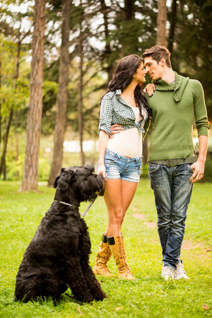 black giant: Young beautiful heterosexual couple with a black giant schnauzer, enjoy a walk through the park.