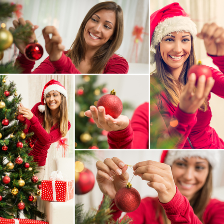 home decorating: Collage of a happy beautiful young woman decorating Christmas tree with red ornament at home.
