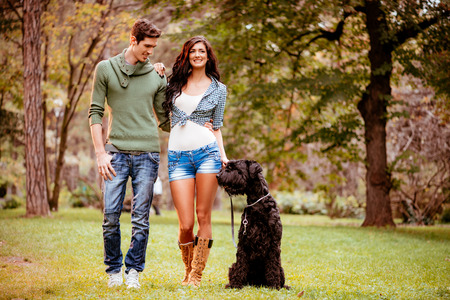 embraced: Beautiful lovely couple with a black giant schnauzer, enjoying and walking in the park. Stock Photo