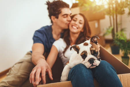 The young happy couple is moving into a new house. They are holding their little puppy after they brought boxes with things to their new home. Stok Fotoğraf