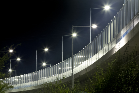 Night overpass with led lights of Banska Bystrica Slovakia