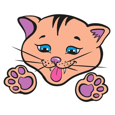 Cool Illustration of a cute kitten. Illustration