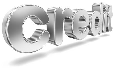 advertisment: Tridimensional Metallic Word Credit