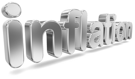 deflation: Tridimensional Metallic Word Inflation Stock Photo