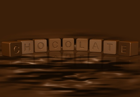 Brown Chocolate Cubes Hovering Over Melted Brown Chocolate Stock Photo - 10967981