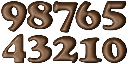 Melted Brown Chocolate Numbers Stock Photo - 10967983