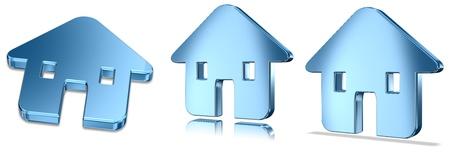 Blue Metallic Home Icons Stock Photo - 11028555