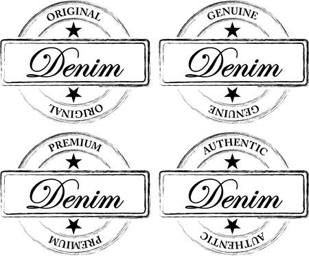 Worn Out Denim Seals (Stamps) Illustration