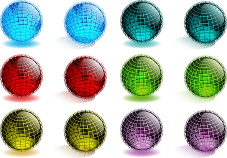 glassy: Glossy Glass Spheres With Coordinate Lines
