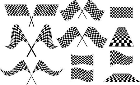 cuadros blanco y negro: Varias banderas a cuadros
