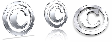 tridimensional: Shiny Metallic Tridimensional Copyright Symbols Stock Photo