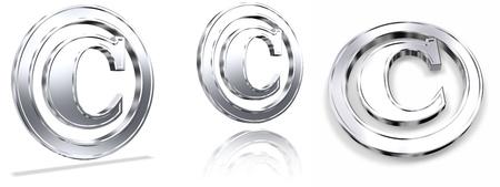 Shiny Metallic Tridimensional Copyright Symbols Stock Photo - 11274448