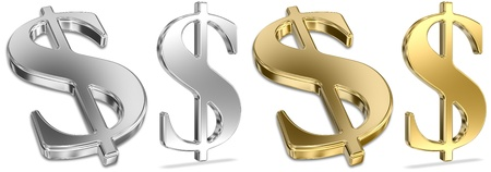 Shiny Golden And Silver Dollar Signs Stock Photo - 11274452