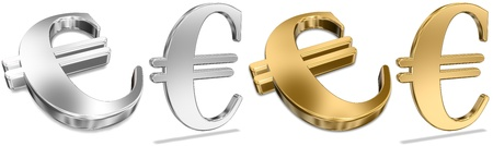 Shiny Golden And Silver Euro Signs