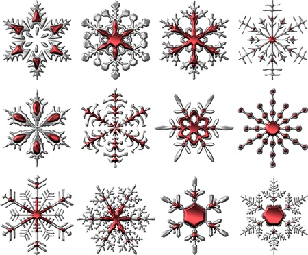 Metallic Silver-Red Snowflakes
