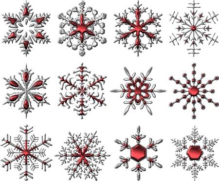 Metallic Silver-Red Snowflakes