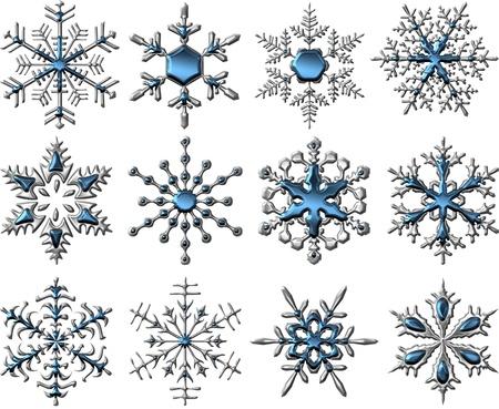Metallic Silver-Blue Snowflakes Stock Photo