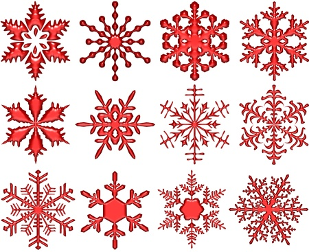 Red Glass Snowflakes