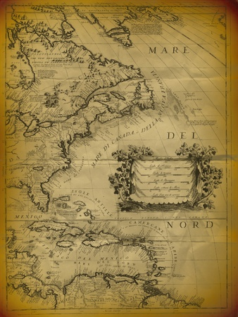 Old Map Of The Mexican Gulf And Eastern Coast Of USA