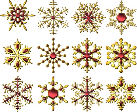 Metallic Golden-Red Snowflakes Stock Photo
