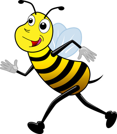 Running bee (cartoon style)