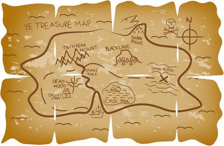 isla del tesoro: Ilustrado mapa del tesoro pirata