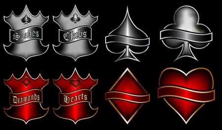Playing cards symbols with emblems Illustration