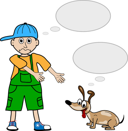 Cartoon style boy and his pet dog