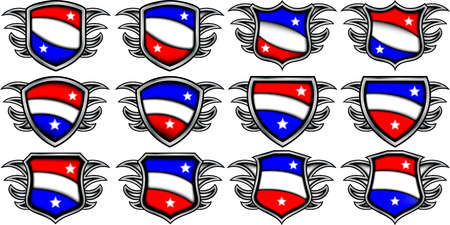 Blank emblems with wings Illustration