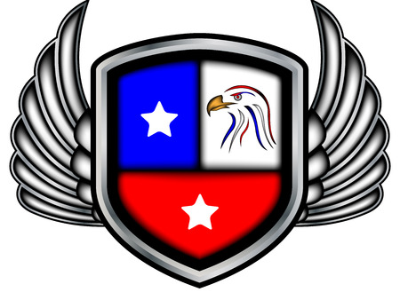 winged: Winged emblem with eagles Stock Photo