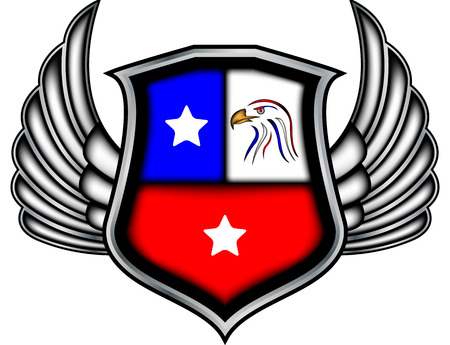 Winged emblem with eagles Stock Photo