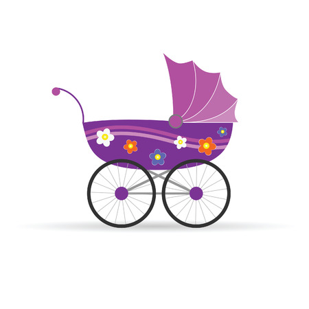 baby carriage in pink color for girl illustration Vector