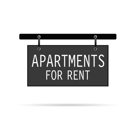 for rent sign: apartments for rent sign vector art illustration