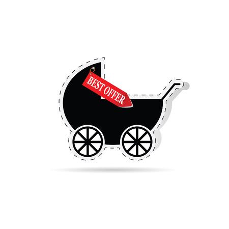 nursing mother: baby carriage as label with best offer illustration Illustration